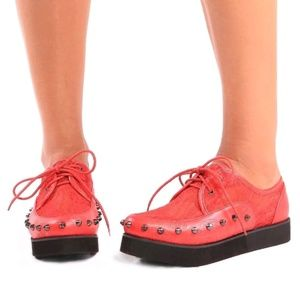 "Iron fist crimson leather ""love lace"" creepers"